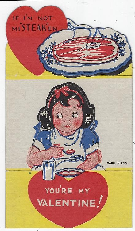 Image for VINTAGE FOLD OUT VALENTINE WITH GIRL EATING STEAK