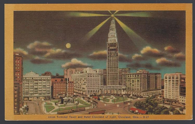 Image for UNION TERMINAL TOWER AND HOTEL CLEVELAND AT NIGHT, CLEVELAND, OHIO
