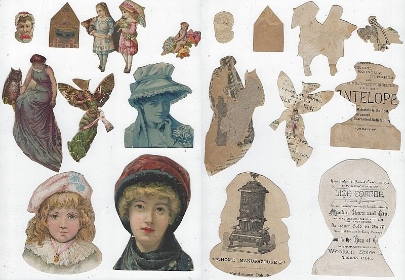 Image for LOT OF NINE SCRAP VICTORIAN TRADE CARDS FEATURING LADIES