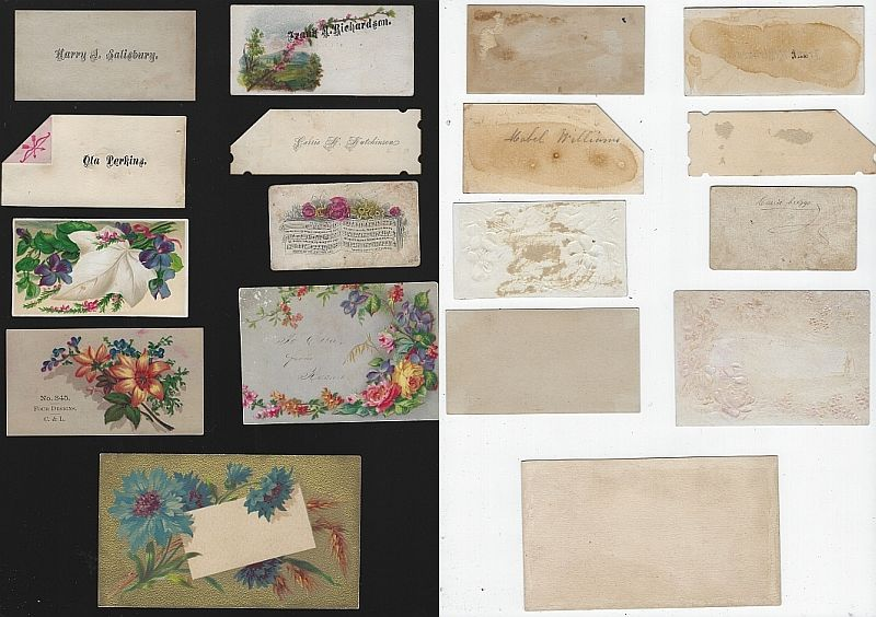 Image for LOT OF NINE SCRAP VICTORIAN TRADE CARDS AND CALLING CARDS FEATURING FLOWERS