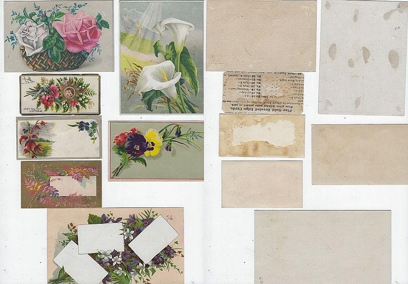 Image for LOT OF SEVEN SCRAP VICTORIAN TRADE CARDS FEATURING FLOWERS
