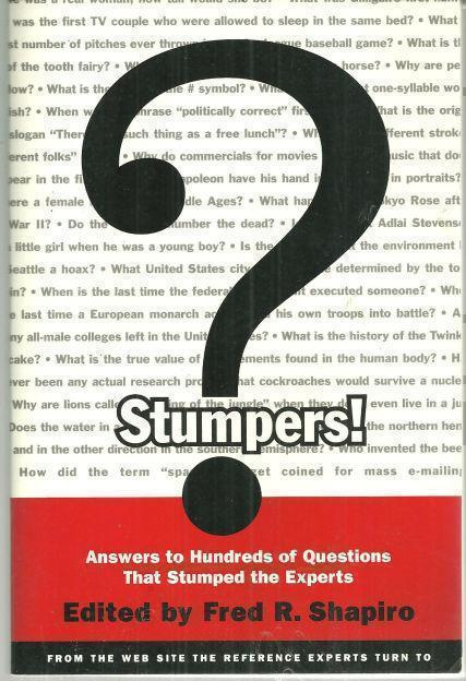 Image for STUMPERS Answers to Hundreds of Questions That Stumped the Experts