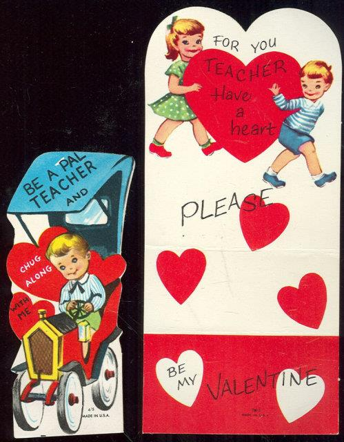 Image for SET OF TWO VINTAGE BOY AND GIRL TEACHER VALENTINE CARDS