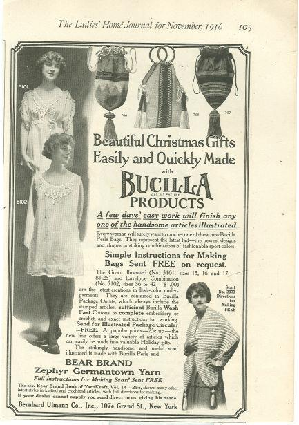 Image for 1916 LADIES HOME JOURNAL CHRISTMAS GIFTS MADE WITH BUCILLA PRODUCTS MAGAZINE ADVERTISEMENT