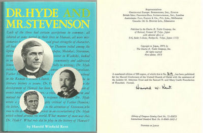 Image for DR. HYDE AND MR.STEVENSON The Life of the Rev. Dr. Charles McEwen Hyde Including a Discussion of the Open Letter of Robert Louis Stevenson