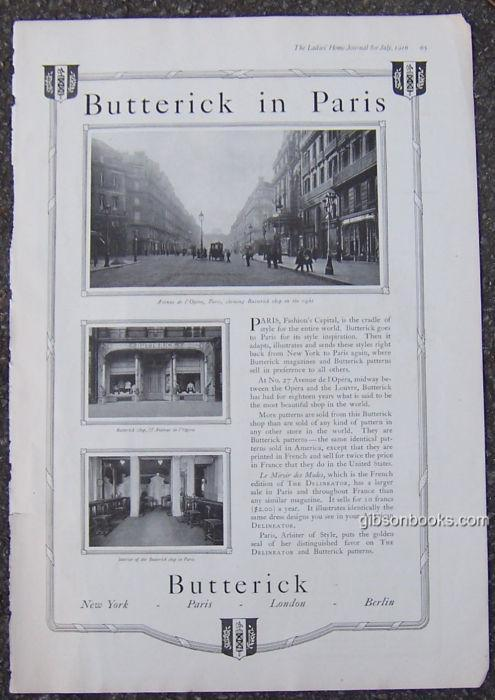 Image for 1916 LADIES HOME JOURNAL BUTTERICK IN PARIS MAGAZINE ADVERTISEMENT