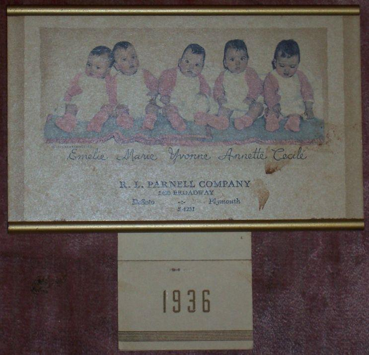 Image for 1936 DIONNE QUINTUPLETS CALENDAR FROM R. L. PARNELL CO