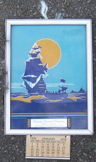 Image for NEW WORLD SILHOUETTE IN BLUE SAMPLE FRAMED 1939 CALENDAR