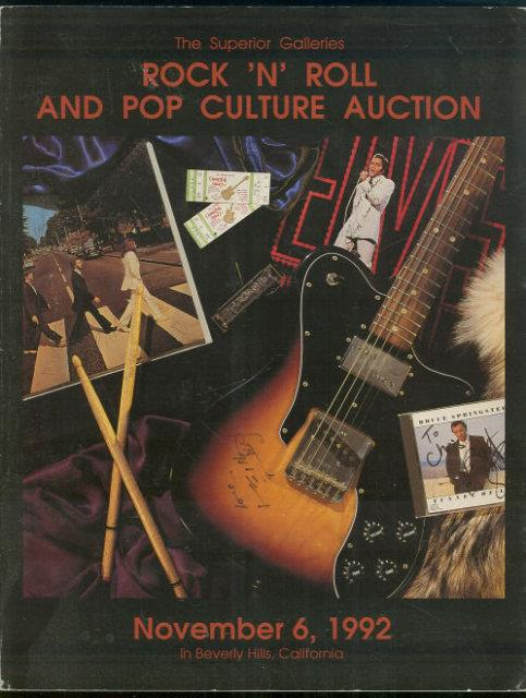 Image for ROCK 'N' ROLL AND POP CULTURE AUCTION - NOVEMBER 6, 1992 In Beverly Hills, California