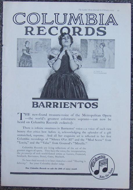 Image for 1917 LADIES HOME JOURNAL BARRIENTOS ON COLUMBIA RECORDS MAGAZINE ADVERTISEMENT