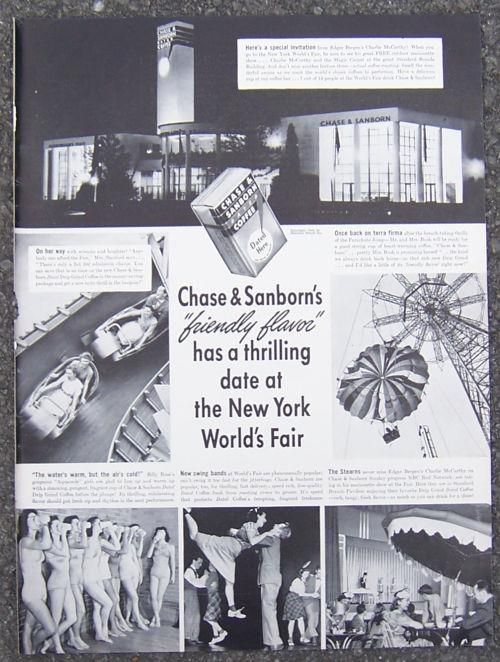 Image for 1940 CHASE AND SANBORN AT NEW YORK CITY WORLD'S FAIR MAGAZINE ADVERTISMENT