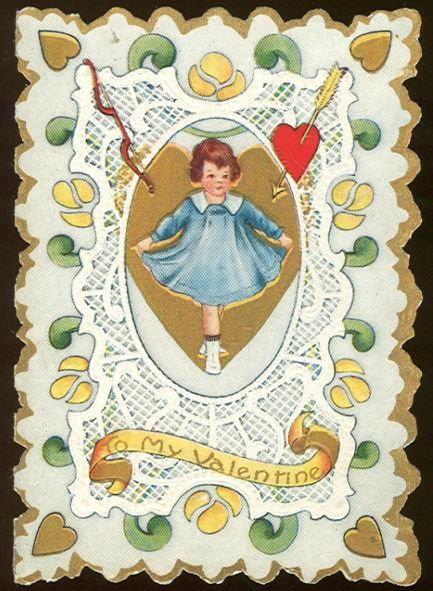 Image for VICTORIAN VALENTINE WITH DANCING GIRL IN BLUE DRESS