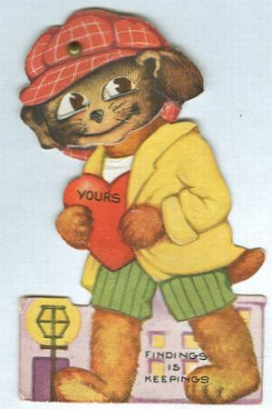 Image for VINTAGE VALENTINE WITH DOG IN CAP AND MOVABLE EYES