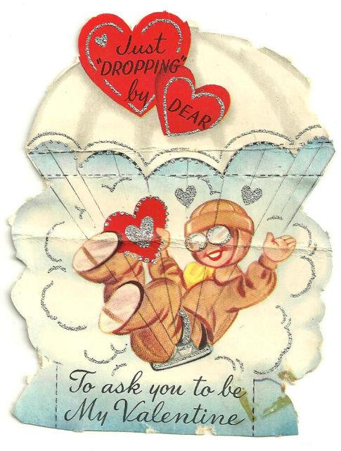 Image for VINTAGE VALENTINE OF PARACHUTING BOY TRIMMED IN SILVER GLITTER