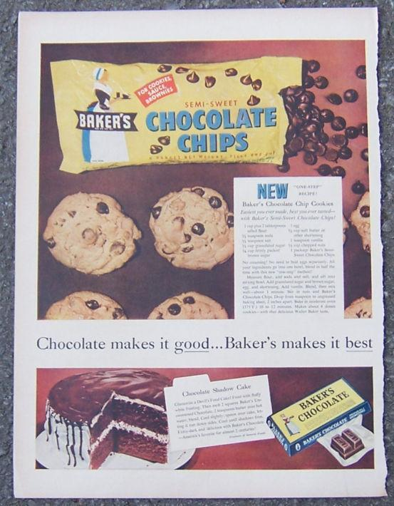 Image for 1955 BAKER'S CHOCOLATE CHIPS ADVERTISEMENT WITH RECIPES