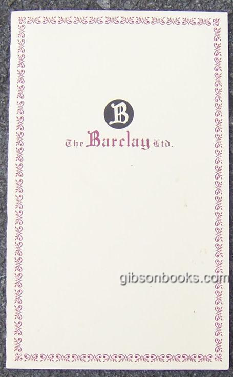 Image for VINTAGE MENU FROM THE BARCLAY LTD. RESTUARANT