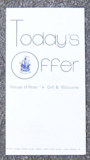 Image for VINTAGE MENU, HOUSE OF PETER, PETER ISLAND YACHT CLUB