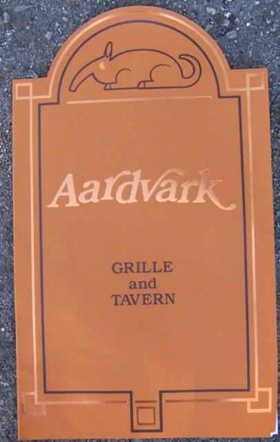Image for VINTAGE MENU FROM THE AARDVARK GRILLE AND TAVERN, LAKE BLUFF, ILLINOIS