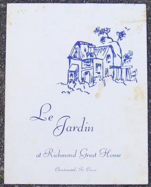 Image for VINTAGE MENU FOR LE JARDIN AT RICHMOND GREAT HOUSE, CHRISTIANSTED, ST. CROIX, US VIRGIN ISLANDS