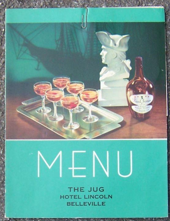 Image for VINTAGE MENU FOR THE JUG, HOTEL LINCOLN, BELLEVILLE, ILLINOIS