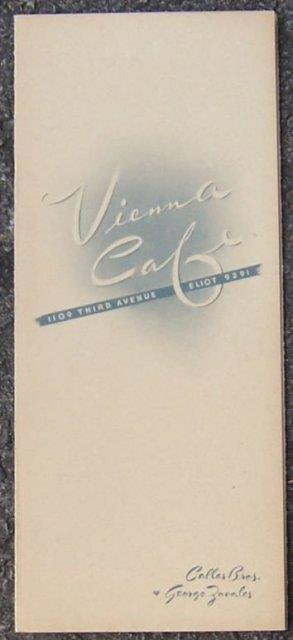 Image for VINTAGE MENU VIENNA CAFE 1109 THIRD AVE ELIOT 9291