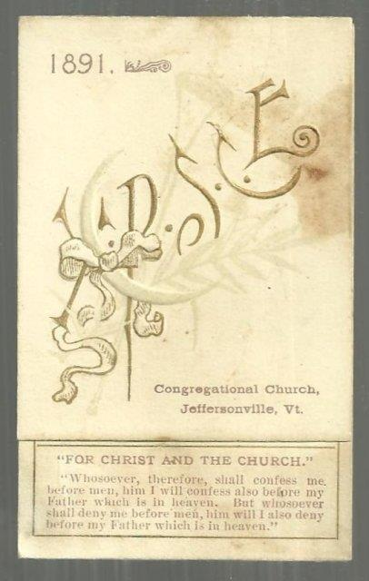 Image for 1891 CALENDAR FOR CONGREGATIONAL CHURCH, JEFFERSONVILE, VERMONT