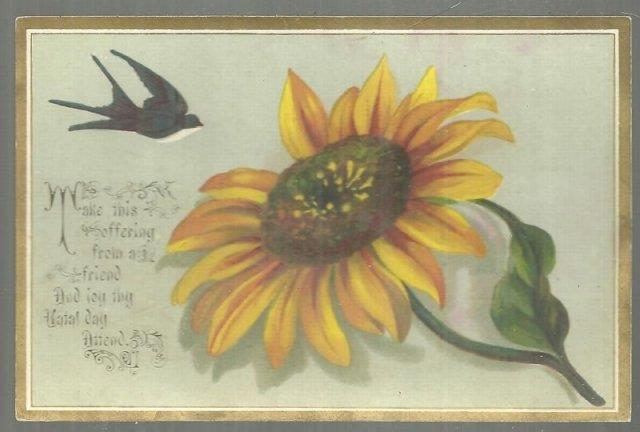 Image for VICTORIAN BIRTHDAY CARD OFFERING FROM A FRIEND WITH BIRD AND LARGE FLOWER