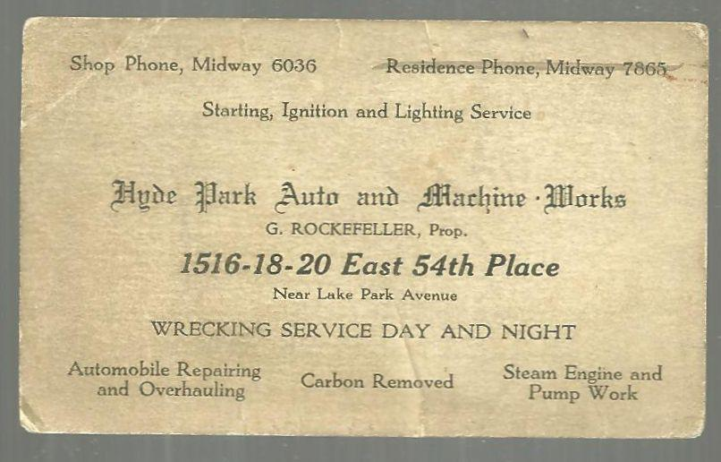 Image for BUSINESS CARD FOR HYDE PARK AUCTO AND MACHINE WORKS, CHICAGO, ILLINOIS