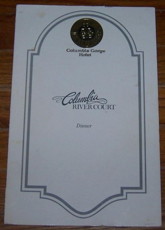 Image for VINTAGE DINNER MENU COLUMBIA RIVER COURT, COLUMBIA RIVER GORGE, HOOD ROVER, OREGON