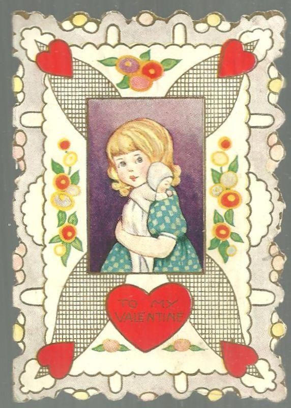 Image for VINTAGE VALENTINE CARD WITH GIRL AND HER DOLL