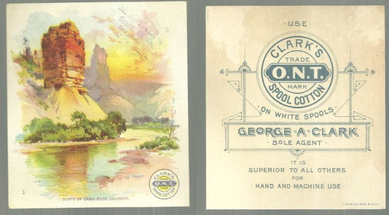 Image for VICTORIAN TRADE CARD FOR CLARK'S THREAD CLIFFS ON GREEN RIVER, COLORADO