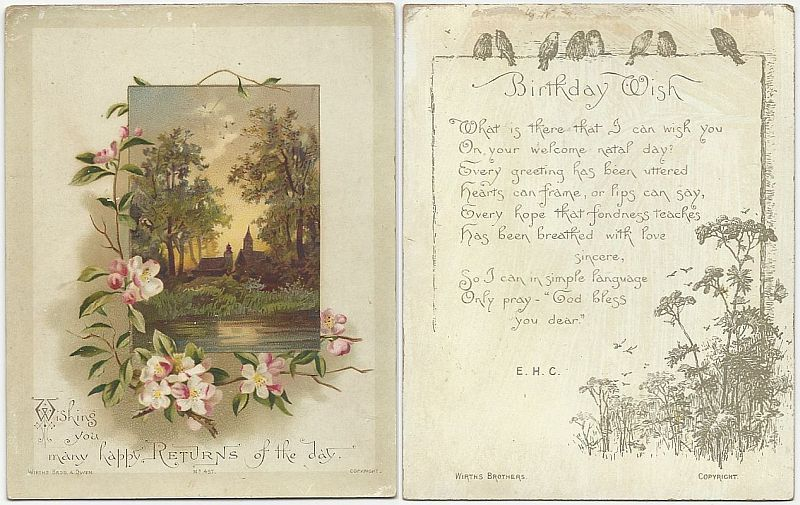 Image for VICTORIAN BIRTHDAY WISHES GREETING CARD WITH CHURCHES AND FLOWERS