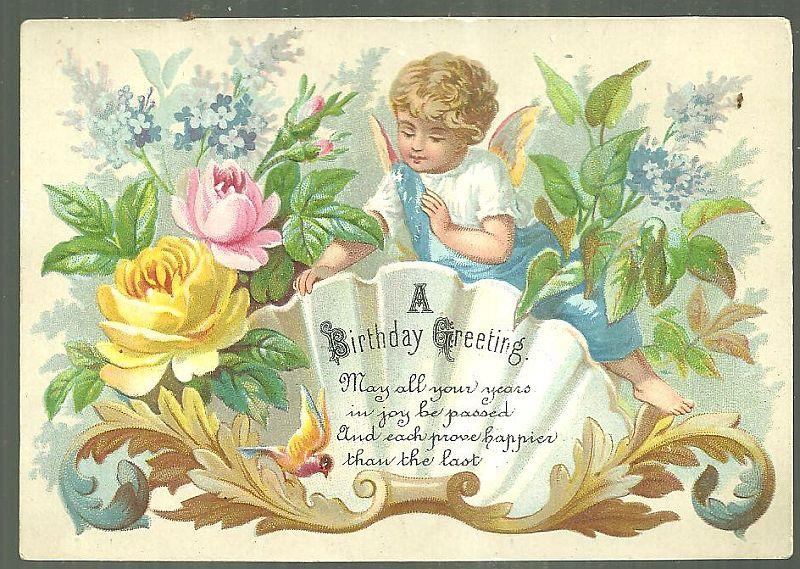 Image for VICTORIAN BIRTHDAY GREETING CARD WITH ANGEL FLOWERS
