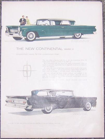 Image for 1957 NEW CONTINENTAL MARK III MAGAZINE ADVERTISEMENT