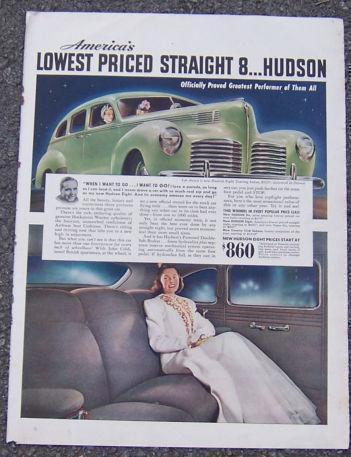 Image for 1940 HUDSON EIGHT AUTOMOBILE MAGAZINE ADVERTISEMENT