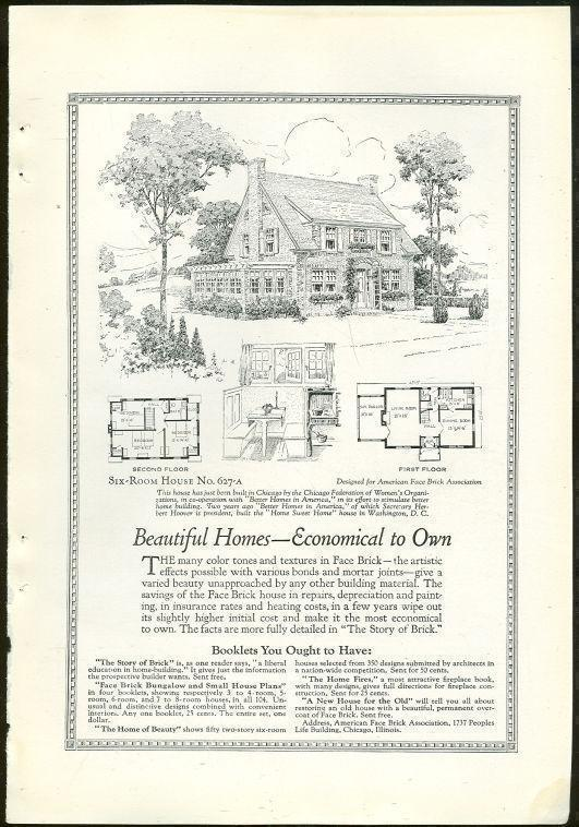 Image for 1925 NATIONAL GEOGRAPHIC BEAUTIFUL HOMES WITH FACE BRICK ADVERTISEMENT
