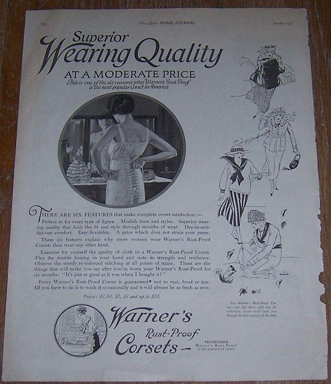 Image for 1921 LADIES HOME JOURNAL WARNER'S RUST PROOF CORSETS ADVERTISEMENT