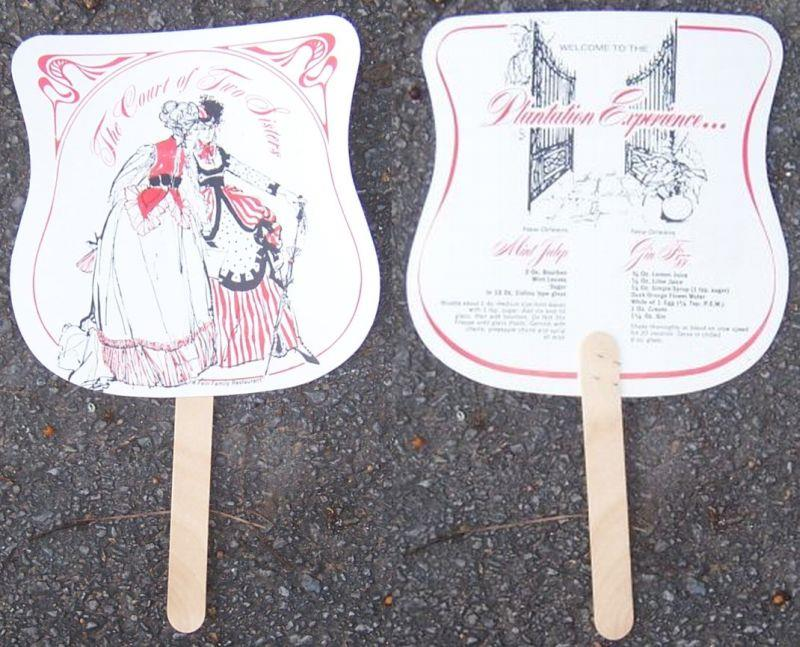 Image for VINTAGE SOUVENIR FAN FROM THE COURT OF TWO SISTERS, NEW ORLEANS, LOUISIANA, WITH DRINK RECIPES